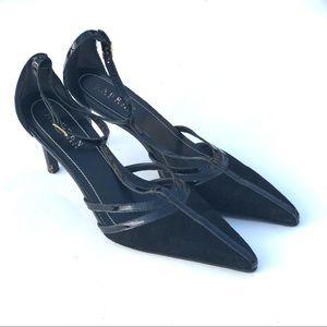 Ralph Lauren Ankle strap High Heels Suede Black 7M